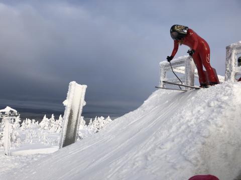 Speedskiåkaren Britta Backlund, Rättviks SLK, i Salla