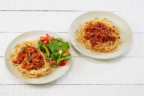 Spagetti med og uten grønt