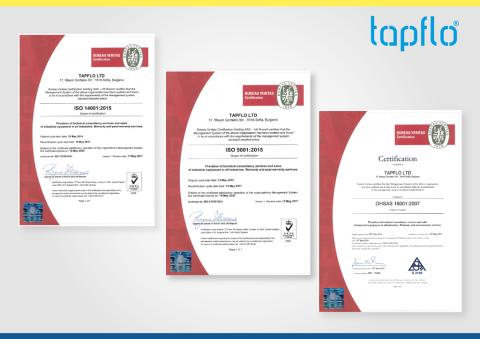 Tapflo Bulgaria was successfully  certificated  as per: ISO 14001:2015, ISO 9001:2015, OHSAS 18001:2007