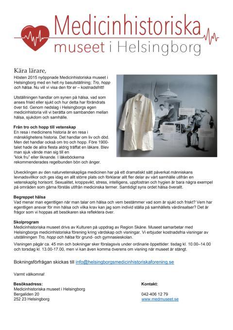 Välkommen att boka gratis visning på Medicinhistoriska museet i Helsingborg