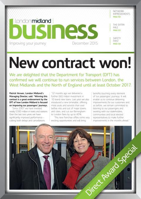 London Midland's Direct Award Newsletter December 2015