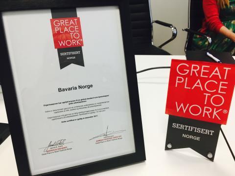 Bavaria sertifisert til Great Place to Work