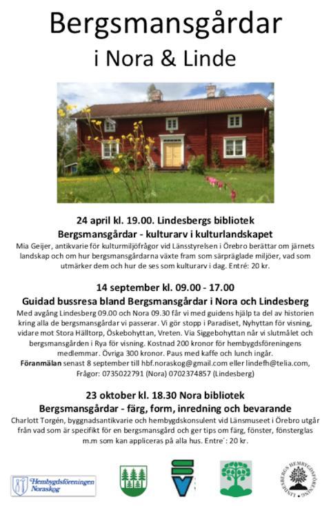Lindesbergs Hembygdsförening: Bergsmansgårdar i Nora & Linde