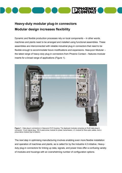 Heavy-duty modular plug-in connectors