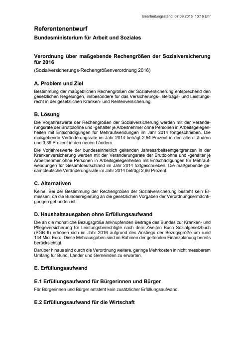 Referentenentwurf  Beitragsbemessungsgrenzen für das Jahr 2016
