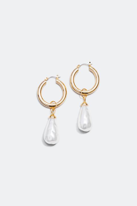 Gullfargede creoler med dråpeformede perler
