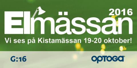 Optoga ställer ut på Elmässan i Kista 19-20 oktober 2016.