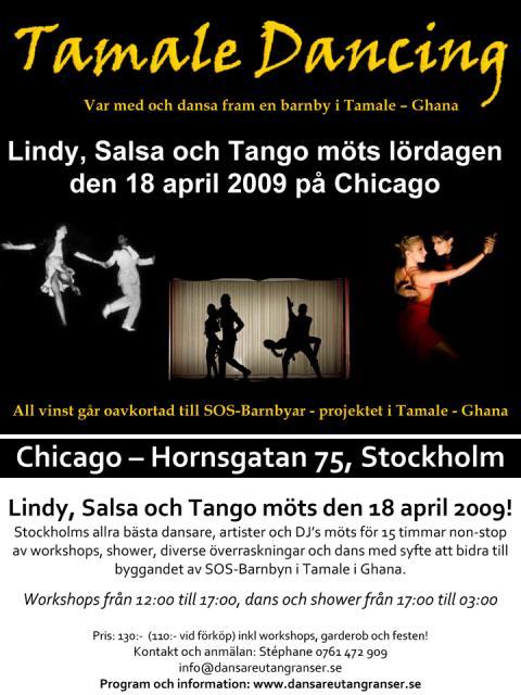 Lär dig dansa lindy, salsa och tango 18/4 till förmån för SOS-Barnbyar