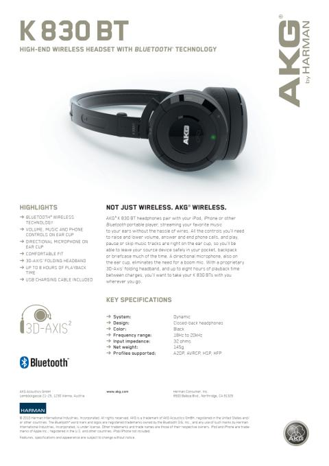 Specification sheet - AKG 830 BT (English)