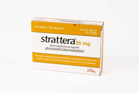 Strattera 25 mg förpackning
