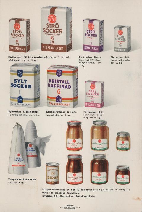 Sockerpaket, 1930-tal. Ur broschyr från Svenska sockerbolaget AB.