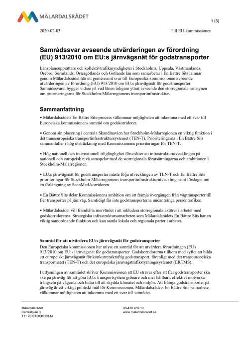 Sju län svarar EU om gods på järnväg