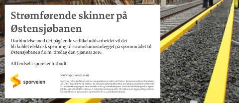 Strømførende skinner på Østensjøbanen