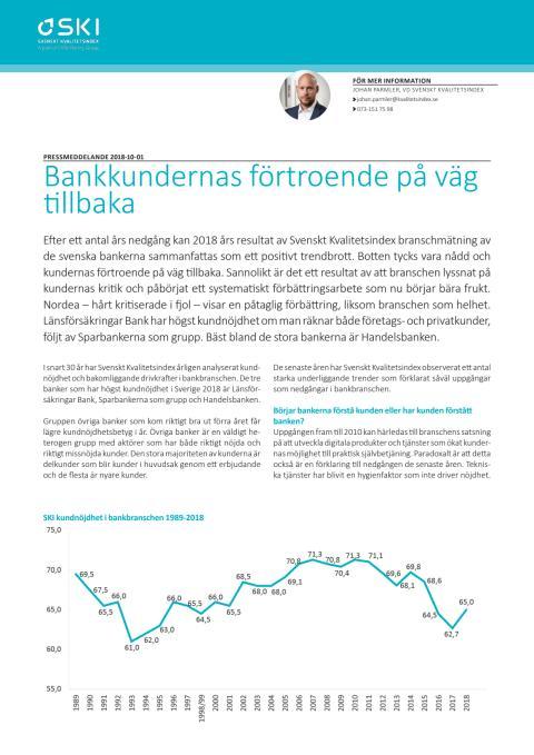 Svenskt Kvalitetsindex Bankbranschen 2018
