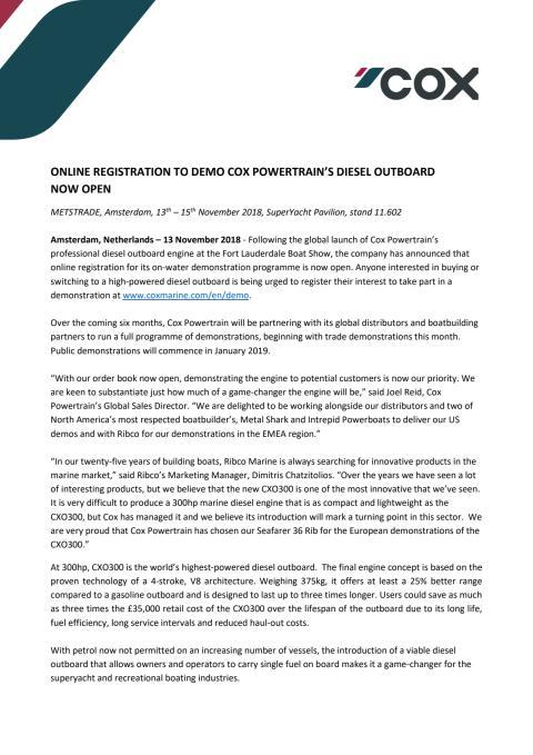 Online Registration to Demo Cox Powertrain's Diesel Outboard now Open