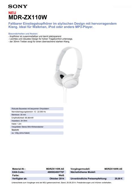 Datenblatt MDR-ZX110W von Sony