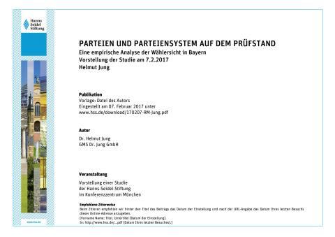 Präsentation von Helmut Jung zur Umfrage:  Parteien und Parteiensystem auf dem Prüfstand - Eine empirische Analyse der Wählersicht in Bayern