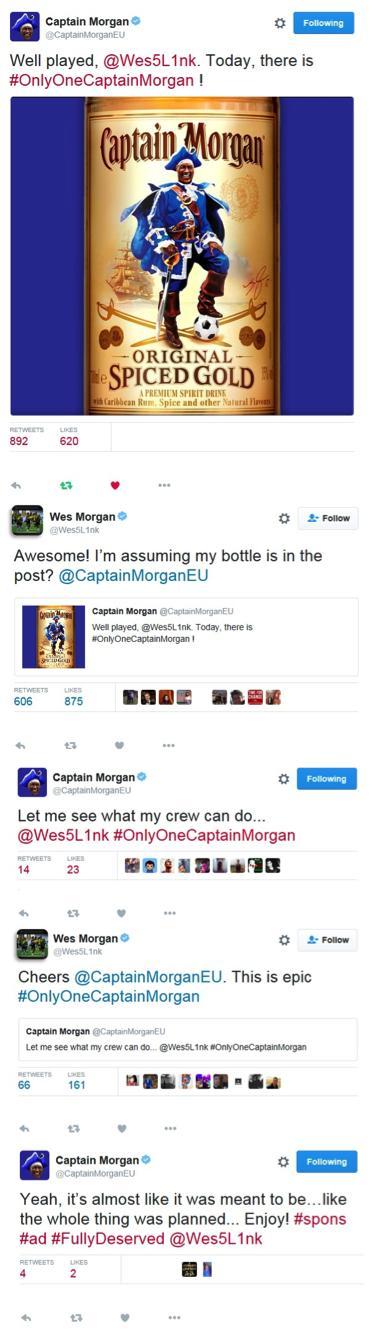 Twitterdialog  mellan Captain Morgan och Wes Morgan