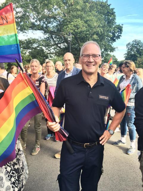 Förbundsdirektör Christer Ängehov på Pride i Helsingborg 2016.