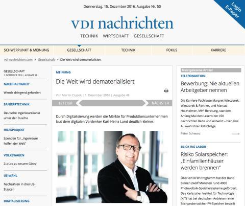 Interview in den VDI Nachrichten: Die Welt wird dematerialisert