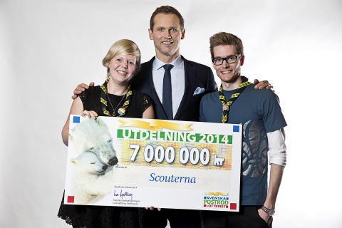 Scouterna tilldelas 7 miljoner vid Svenska PostkodLotteriets årliga utdelning