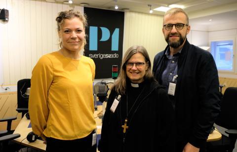 Tre av fem medverkande under morgonandakterna under Kyrkornas globala vecka.