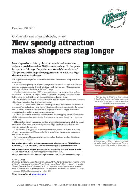 Go-kart adds new values to shopping centres