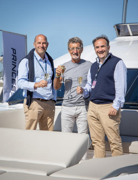 Princess Motor Yacht Sales welcomes Eddie Jordan aboard the new Princess Y85 at the Southampton Boat Show