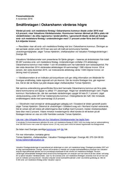 Värdebarometern 2015 Oskarshamns kommun