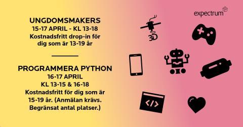 Är du 13-19 år? Kom och testa programmering och makers på påsklovet!