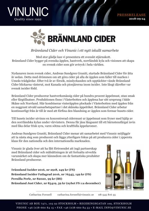 Brännland Cider och Vinunic i ett nytt iskallt samarbete