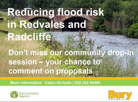 Community drop-in event to look at reducing flood risk in Radcliffe and Redvales