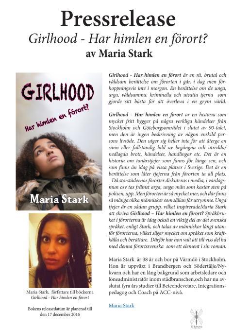 """Release Roman """"Girlhood - Har himlen en förort?"""" av Maria Stark"""