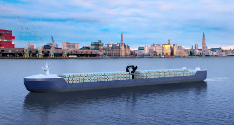 Belgian pallet shuttle barge owned by Blue Line Logistics NV