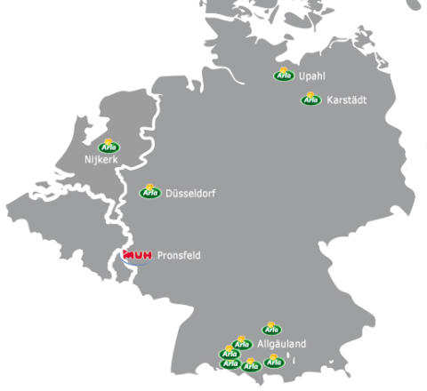 Karta: Arla och MUH i Tyskland