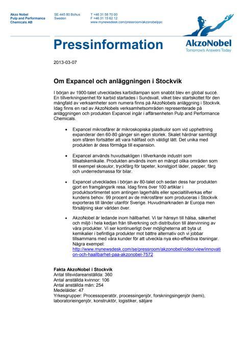 Pressinformation: Om Expancel och anläggningen i Stockvik