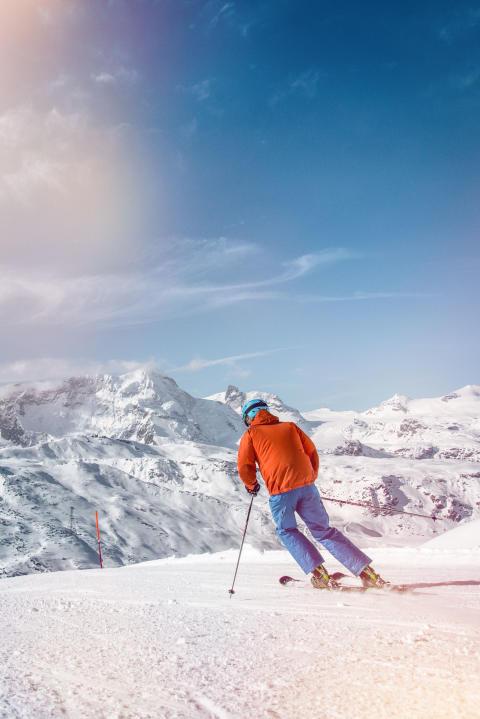Skifahrer im Wallis - Zermatt