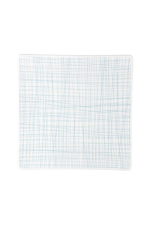 R_Mesh_Line Aqua_Plate 27 cm square flat