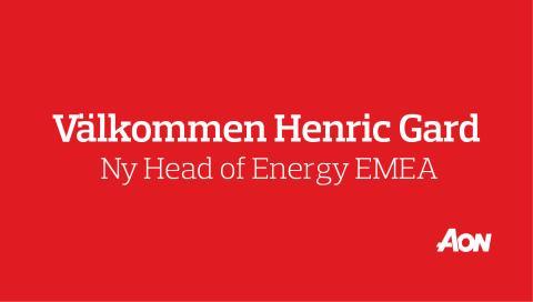 Henric Gard blir ny Head of Energy EMEA på Aon!