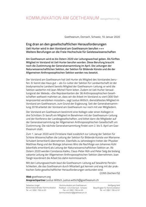 MM 2020 01 10 Berufungen Goetheanum Vorstand Sektionen p