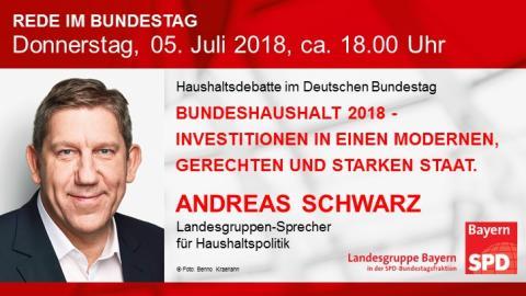 Andreas Schwarz in der Plenardebatte zum Bundeshaushalt 2018