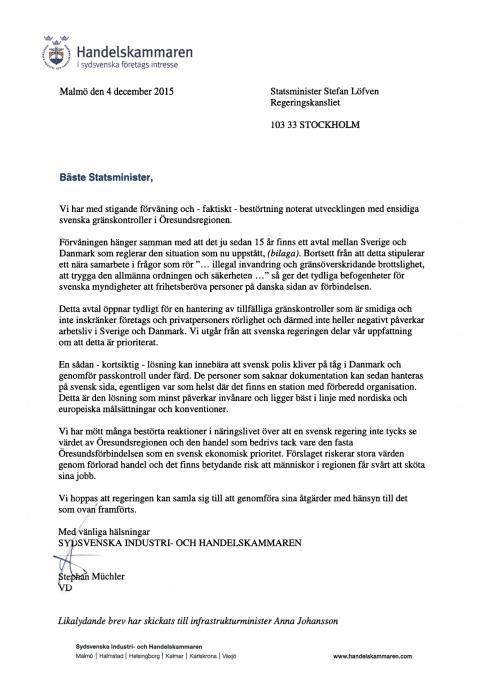 Brev till statsminister Stefan Löfven angående Öresundsbron