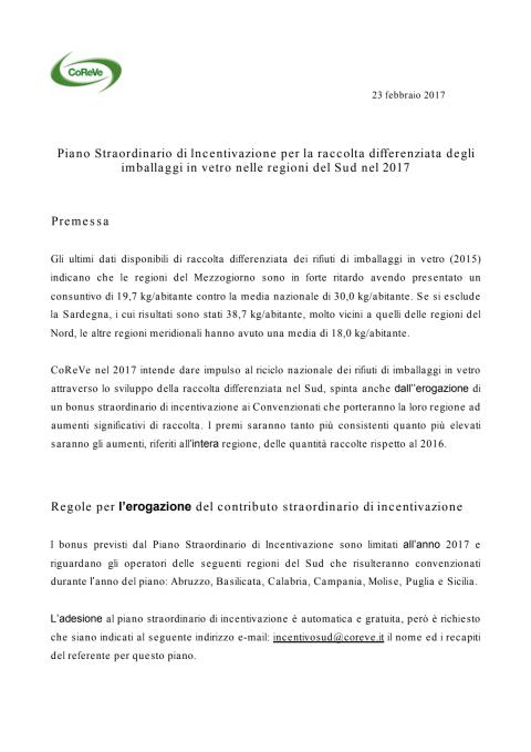 CoReVe - Regolamento Piano Straordinario Incentivazione Sud