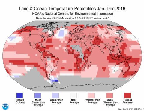 2016 rekordvarmt på verdensbasis