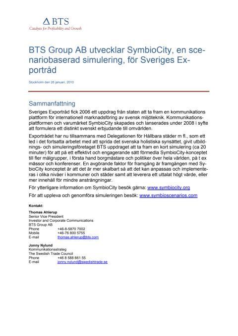 BTS Group utvecklar SymbioCity för Sveriges Exportråd