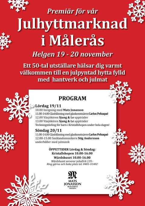 Premiär för julhyttmarknad i Målerås hytta