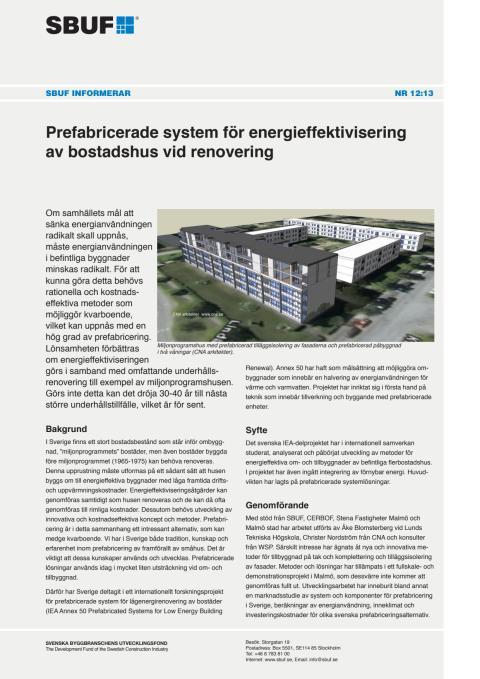 SBUF Informerar, nr. 12-13 Prefabricerade system för energieffektivisering av bostadshus vid renovering