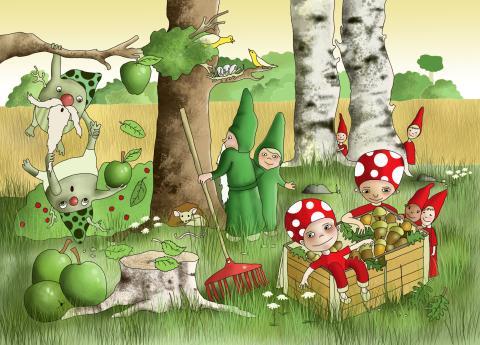 """En av bilderna från """"Lill-Nisses nya kompisar"""", illustrerad av Erica Nilsson"""