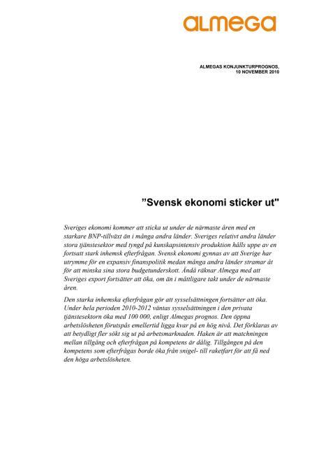 Konjunkturprognos från Almega hösten 2010