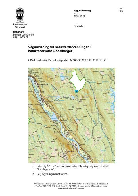 Väganvisning Lisselberget 2013